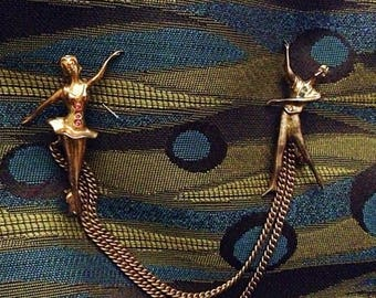 Ballerina Sweater Guard Pins - Gold Tone - Vintage