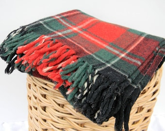 "Vintage Faribo wool blanket red green white tartan throw-49.5 x 46"" stadium throw festival"