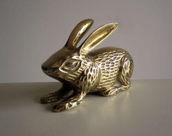 Brass bunny rabbit ornament / Vintage woodcut style hare / Easter decoration or cake topper