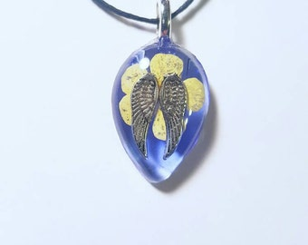 Angel Wings Flower Necklace Bohemian Jewelry Nature Resin Pendant Nature Charm Blue Yellow Spiritual