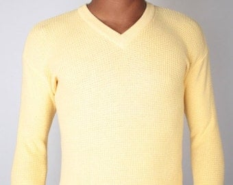 SALE Vintage 70s YSL Yves Saint Laurent Butter Yellow Waffle Knit Sweater // Mens Vintage Sweater (sz S/M)