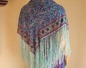 Silk scarf, fringed scarf, printed silk scarf, hippie scarf, coachella, festival