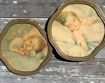 Vintage Annie Benson Muller Baby Print Pair Heavens Gift Just A Little Dream