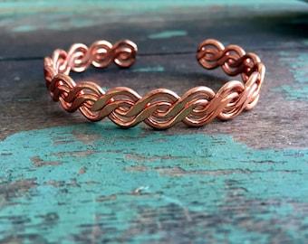 Vintage Large Twisted Copper Bracelet Cuff Modernist Boho