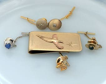 Vintage lot Tie Pins Tacks 14K gold blue star Sapphire and Diamond Money clip