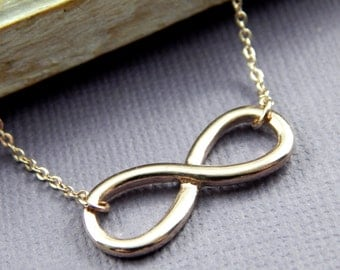 Infinity Necklace Rose Gold Plated Adjustable Necklace