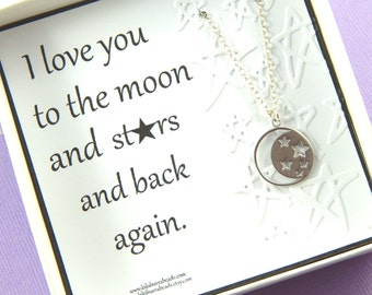 Moon And Stars Necklace, I Love you to the moon and Stars necklace, friendship necklace, Gift For Daughter, Valentines Gift, Mother Gift