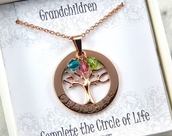 Family Tree Necklace, Personalized family tree necklace, birthstone necklace, Grandma necklace, Nanna necklace, Mothers necklace