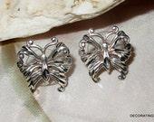 Butterfly Sterling Silver Earrings Pierced