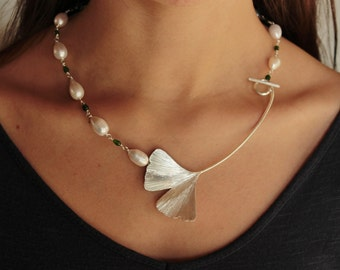 GINKGO - necklace with a large ginkgo biloba leaf that doubles as clasp,  teardrop pearls and chrome diopside drops