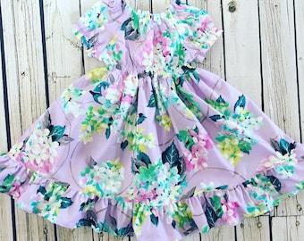 Sale- Girls Spring Peasant Dress- Cordelia- Purple dress - lavender floral dress- 2017 Spring Collection from Melon Monkeys