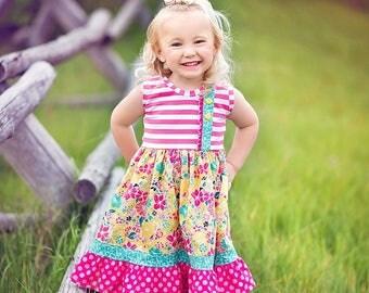 Yours Truly - Girls Tank Dress, Knit dress, Summer knit dress, pink and yellow floral dress, pink lemonade dress, by Melon Monkey
