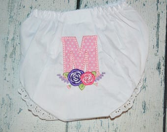 Personalized Flower Laurel wreath Monogram Bloomers Diaper Cover