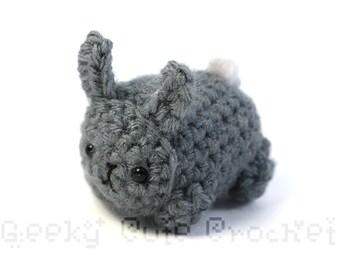 Gray Bunny Rabbit Yami Amigurumi Crochet Stuffed Plush Desk Toy