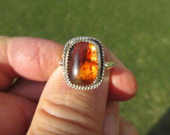 Sterling Silver Baltic Amber Ring - Size 9 1/4 - FREE RESIZING
