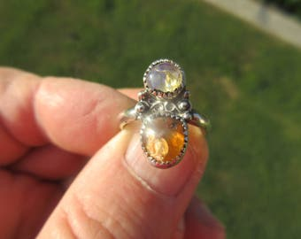 COMPLIMENTARY COMBO with CHARACTER - Sterling Silver Double Mexican Fire Opal Ring - Size 7 1/2