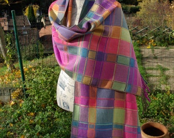 Hand dyed hand woven multicolored silk shawl wrap by lamaisondesfibres France