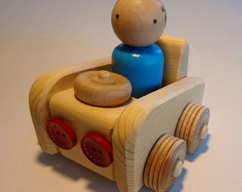 Small Wood Peg Doll Car, Wooden Toy, Peg People Wooden Play Vehicle, Simple Toy, Waldorf inspired, Kids Birthday gift, Jacobs Wooden Toys