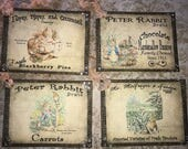 Peter Rabbit / Beatrix Potter tags, set of 4, vintage inspired with crystal rhinestones.