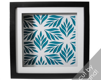 stylized LEAVES shadowbox- paper cutting, flowers, delicate, modern decor, interior design, botanical