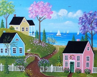 Sunny Warm Spring Folk Art Painting FREE Shipping
