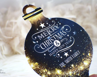 Whimsical Christmas Ornament Card  | Greetings | Merry Christmas | Happy Holidays | Blue | Gold | Stars | Holly Night | Crystal | Glitz
