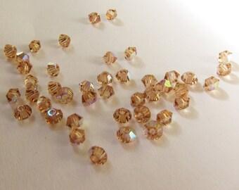 3mm Light Colorado Topaz AB Swarovski Bicone Beads - (65)