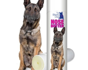 Belgian Malinois ORIGINAL NOSE BUTTER® Handcrafted All Natural Balm for Dry Rough Crusty Dog Noses .50 oz Tube with Belgian Malinois Label