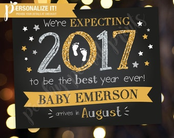 New Years Eve Pregnancy Announcement Sign Poster Chalkboard Glitter Expecting Reveal // Personalized Printable // 8x10 // 11x14 // Custom