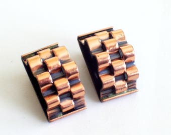 Renoir Basketweave Copper Earrings, Vintage RENOIR Copper Clip Earrings, Renoir Copper, Mid Century Copper Jewelry