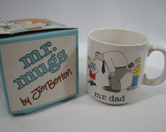 Vintage Jim Benton Mr. Mugs Coffee Cup Mr. Dad Father's Day Gift Papel
