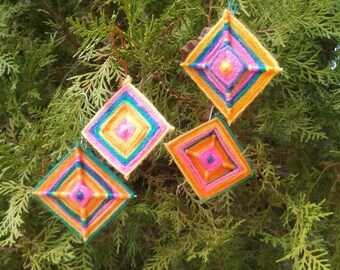 God's Eye - Ojo de Dios - Eye of God - Christmas Tree, Plant, Wall, Gift Decorations Ornament - Handwoven - Set of 12
