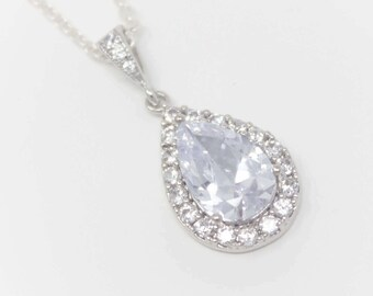 Bridal Necklace Cubic Zirconia Teardrop Wedding Necklace with Sterling Silver Chain