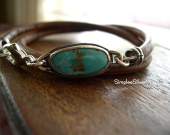 Leather Wrap Bracelet  - Natural Turquoise Bracelet  -  Bezel Set Natural Turquoise Bracelet  -  SimpleeSilver Jewelry  -  Rustic  -  Earthy