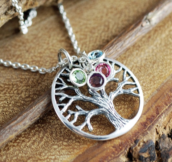 Silver Family Tree Necklace, Grandmother Jewelry, Birthstone Family Tree Necklace, Tree of Life Jewelry,  Family Tree Necklace, Gift for Mom