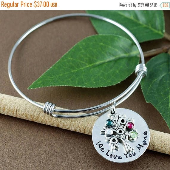 15% OFF SALE Silver Family Tree Birthstone Bracelet, Tree of Life Bangle Bracelet, Birthstone Charm Bracelet, Gift for Grandma, Mothers Day
