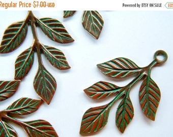 SALE 4 Leaf Sprig Charms Verdigris Copper Charms BS-lf91-12