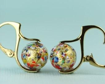 Venetian Murano Klimt inspired handblown lampwork glass beads in vermeil European lever backs, by art4ear, gift for her, under 50, original