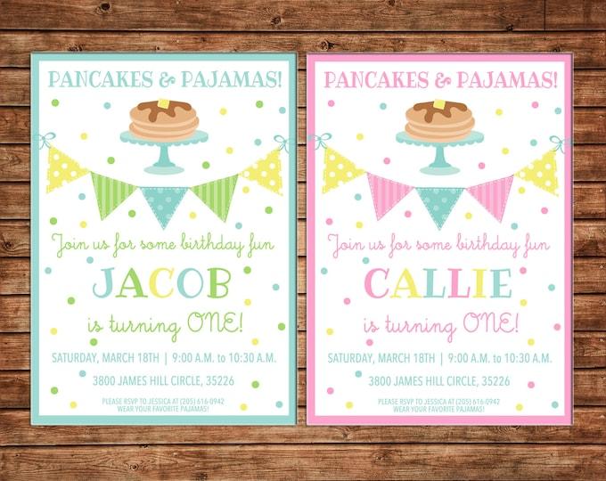 Boy and Girl Pancakes Pancake Pajamas Breakfast Bunting First One Birthday Invitation- DIGITAL FILE