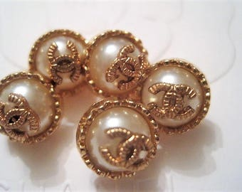 Lot of 5 Chanel Small Faux Pearl Gold Buttons, 11 mm