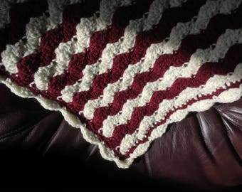 Burgundy and cream shell Baby Blanket