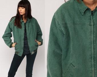 Carhartt Jacket GRUNGE 90s Jacket Vintage Dark Green Retro Hipster Zip Up Small Medium