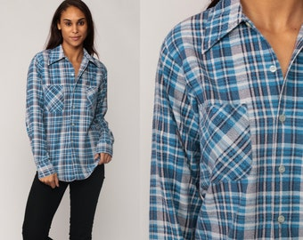 Flannel Plaid Shirt 70s Blue Checkered Lumberjack 1970s Vintage Button Up Long Sleeve Shirt Top Pocket Long Sleeve Small Medium