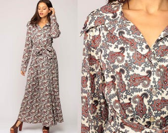 Boho Maxi Dress 70s PSYCHEDELIC Paisley Hippie Gown Floral Print 1970s Bohemian Button Up High Waist Vintage Long Sleeve Grey Large