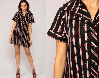 70s Mini Dress Mod Shift Mini BELT PRINT Shirtdress Button Up Collared Striped Short Sleeve Vintage 1970s Twiggy Sixties Black  Medium