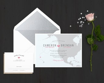 The 'Tansey' Destination Travel Wedding Invitation Suite (Sample)