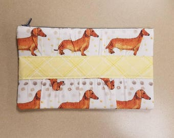 Dachshund zipper pouch, Weiner dog zipper pouch, Clutch purse, Clutch zipper pouch, Weiner dog clutch, Dachshund clutch, CLEARANCE