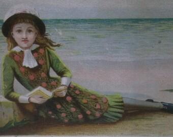 Pretty Girl on Beach Reading Book - Colorful Victorian Card Scrap - 1800's