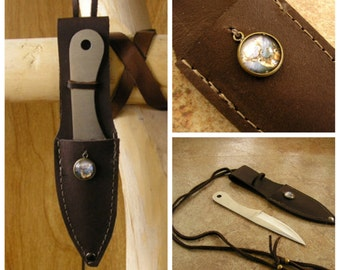 "5.5"" Knife with Deer Charm – Brown leather neck sheath –  can also be worn on your belt, adjustable cord is 36"" long"