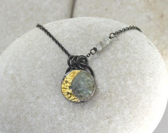 Harvest Moon Necklace with Gold Leaf with Diamond Stars on Silver